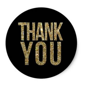 Thank You Circle Sealing Stamp Stickers | Black & Gold Glitter