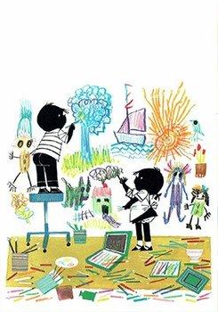 Fiep Westendorp Postcards | Jip en Janneke aan het kleuren