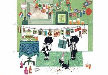 Fiep Westendorp Postcards | Jip en Janneke met slingers