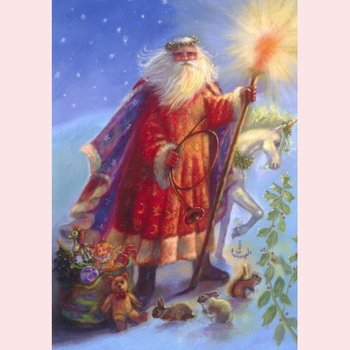 Postcard Fantasy Judy Mastrangelo | Santa & Unicorn