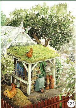 Inge Look Nr 121 Postcard Garden | Behind the greenhouse
