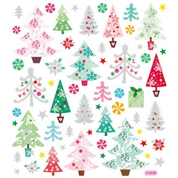 Seal Sticker with Glitter Foil | Christmas Trees