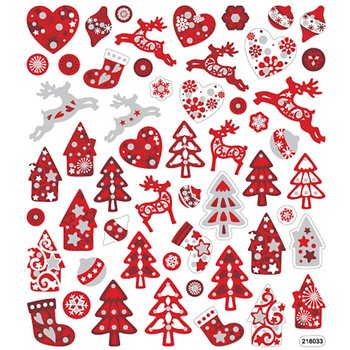 Seal Sticker with Glitter Foil | Red and White Christmas