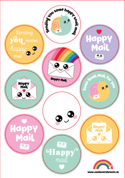 A5 Round Stickersheet | Happy Mail