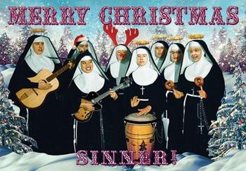 Christmas Nuns Individual Postcard by Max Hernn
