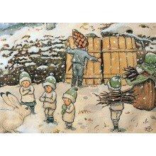 Elsa Beskow Postcard | Tomtebobarnen vinter