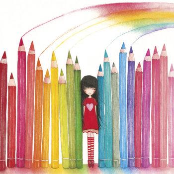 Mila Square Postcard   Rainbow Pencils