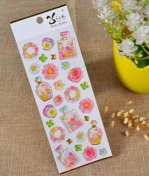 Puffy Epoxy Stickers | Flower Bottles