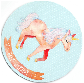 Round Postcard Edition Tausendschoen | Unicorn Happy Birthday