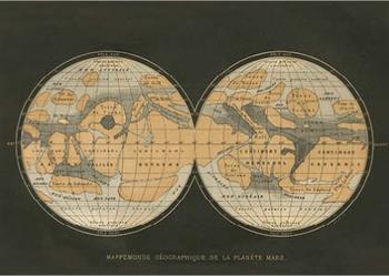 Postcard   Mappemonde Geographique de la Planete Mars, Terres du Ciel