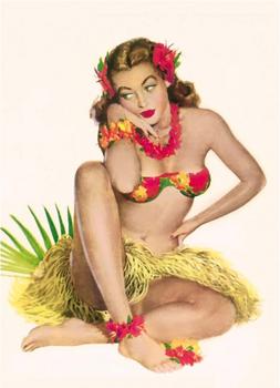Postcard Pin Up | Hula Hawaii