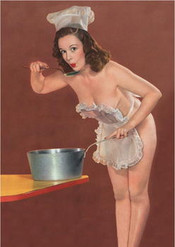 Postcard 1950s Pin Up Photograph | Cooking