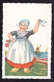 Oud Hollandse Postkaart | Tulpenmeisje