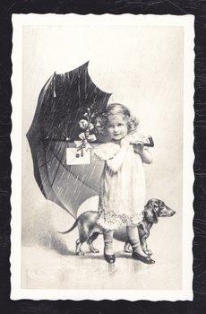 Oud Hollandse Postkaart | Meisje met parapluie