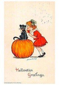 Victorian Halloween Postcard   A.N.B. - Girl and black cat