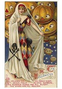Victorian Halloween Postcard   A.N.B. - Magic halloween
