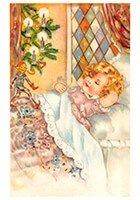 Victorian Postcard | A.N.B. - Kerstelf loopt op het bed van een slapend kind