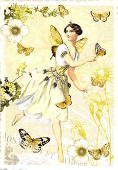Postcard Edition Tausendschoen | Fairy with Butterflies
