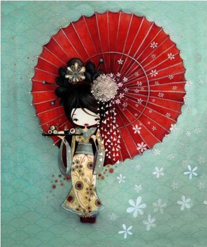 L'Atelier de Papier Aquarupella Postcard | Geisha