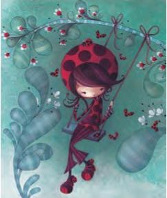 L'Atelier de Papier Aquarupella Postcard | Ladybug Girl on Swing