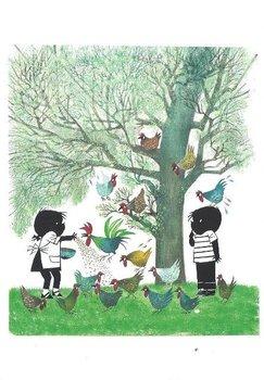 Fiep Westendorp Postcards | Jip en Janneke voeren kippen