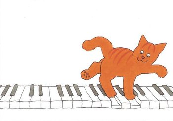 Dikkie Dik Postcards | On the piano