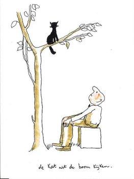 Museum Cards Postcard | De kat uit de boom kijken, Toon Hermans
