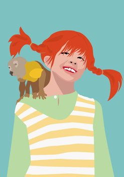 Pop Art Postcard | Pippi Longstocking