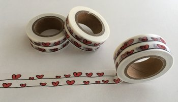 Washi Masking Tape | Red Hearts on a Bench