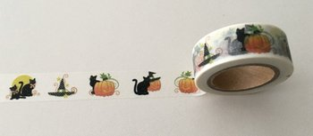 Washi Masking Tape | Halloween Black Cat with Pumpkins