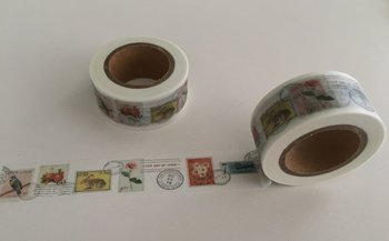 Washi Masking Tape | Postage Stamps White
