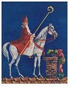 Postcard | A.N.B. - Sinterklaas met zwarte piet op het dak