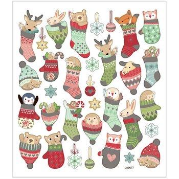Seal Sticker met Glitter Folie | Kerstdieren in sokken