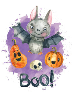 Postcard LittleLeftyLou | Halloween Bat
