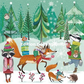 Mila Marquis Postcard Christmas | Animals in the winter forest