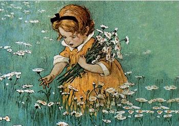 Postcard   Picking Flowers
