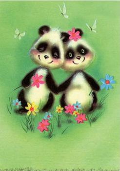 Postcard | Fab 70s Pandas