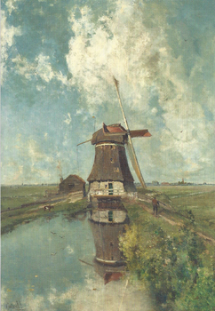 Museum Cards Postcard | In the Month of July: a windmill on a Polder Waterway