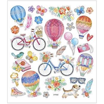Seal Sticker met Glitter Folie | fietsen en luchtballonnen