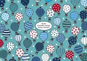 Lali Postcard | Zoekopdracht Verliefde hartjes in een luchtballon