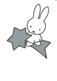 Nijntje Miffy Postcards | Nijn op Ster (Silver on White)