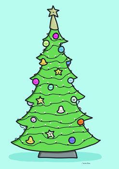 Tamara Boon Illustrations Postcard   Christmas Tree