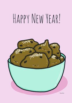 Tamara Boon Illustrations Postcard   Happy New Year Deep Fryed Doughnut Balls