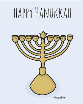 Tamara Boon Illustrations A5 Postcard | Hanukkah