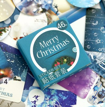 Sticker Flakes Box | Merry Christmas Blue