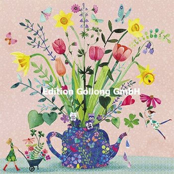 Mila Marquis Postcard | Spring flowers in a pot
