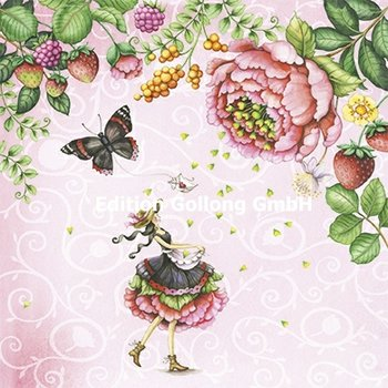 Nina Chen Postkarte | Frau mit Schmetterling und Blüten
