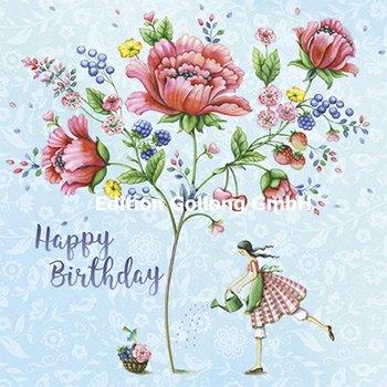 Nina Chen Postkarte | Happy Birthday (Frau mit Blumenstrauß)