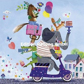 Mila Marquis Postkarte | Tiere auf Motorroller