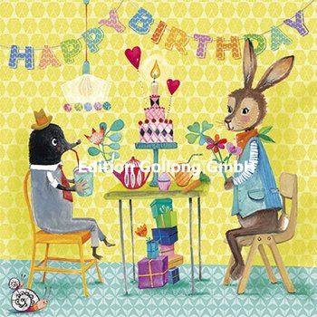 Mila Marquis Postcard | Happy Birthday (bunny and mole)